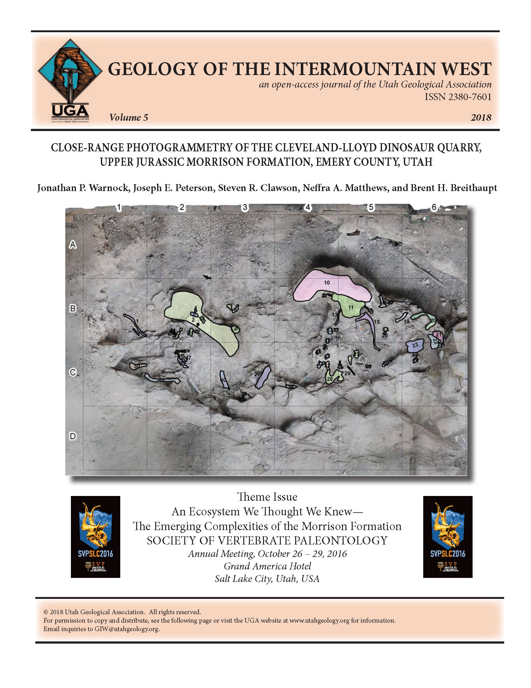 Orthomosaic map of the 2015–2017 excavations of the South Butler Building at the Cleveland-Lloyd Dinosaur Quarry produced from photogrammetry and standard grid mapping. The Cleveland-Lloyd Dinosaur Quarry is located on the San Rafael Swell, Emery County, Utah.