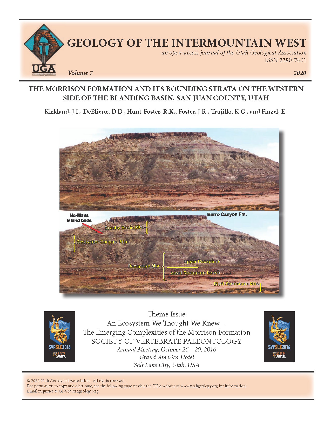 Unannotated (top) and annotated (bottom) photograph of the nearly complete section of Upper Jurassic Morrison Formation exposed on west side of McCracken Point east of the mouth of Recapture Creek, Navajo Nation, Utah.